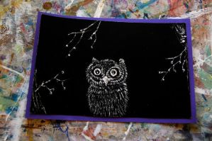 Owl Scratch Art by thevictor2225