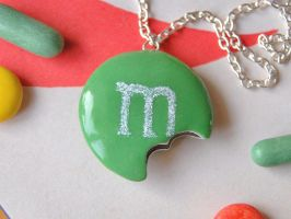 Green MM Cookie Necklace by Madizzo