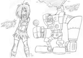 Zombie Girl and Robot Boy by Yuji28Go