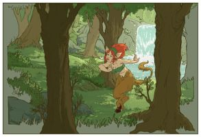 satyr in the forrest by DawnElaineDarkwood