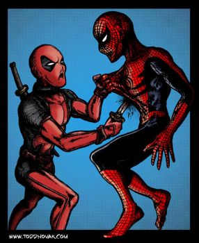 Deadpool stabs Spider-Man by toddnovak