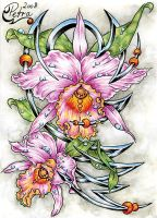 TattooTribal: Dewdrops Orchid by evilorchid