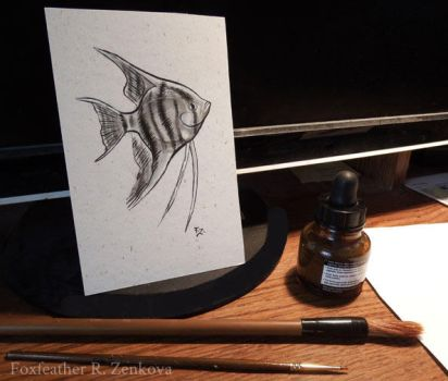 Ink Angelfish by Foxfeather248