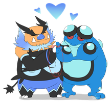 Commission: Shiny Emboar and Seismitoad by Vellvette