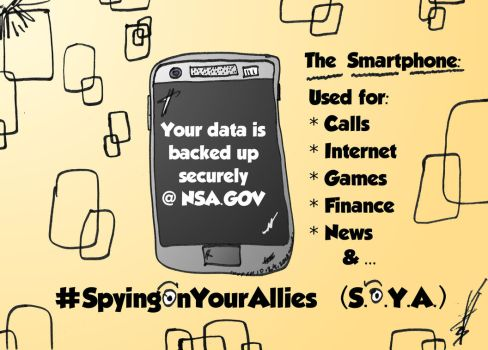 Smartphone Backups at the NSA caricature by optionsclickblogart