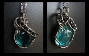 Wire Wrapped Aqua Pendant by teuf-eL