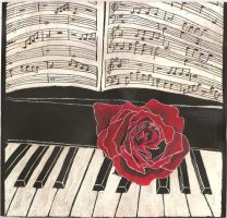 Rose on a piano by Rayne1990