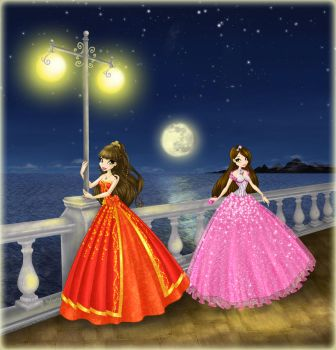 Danicka and Analiese in ball gowns by ICassidyI