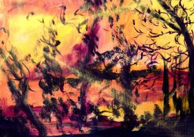 abstract nature in watercolor by diceglia
