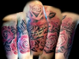 Roses half sleeve almost done by Uken