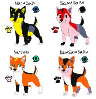 Narutail pups point adopts by DarkChocaholic