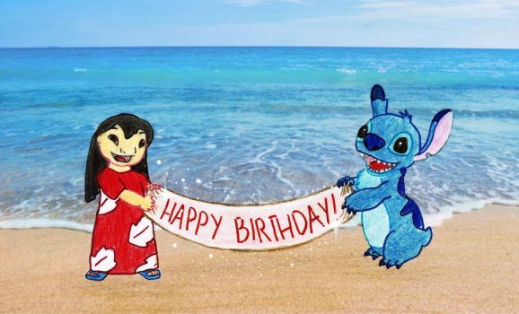 Lilo and Stitch happy birthday banner by Chukapix