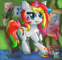My first Commission !! - Rainbow Brush by ChibiWendy