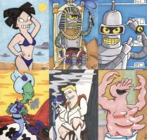 Futurama Sketch Cards 3 by tedwoodsart