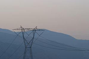 Power Lines and Sunset, Corona by Azraphale