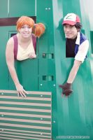 Misty and Ash in a Train by moonymonster