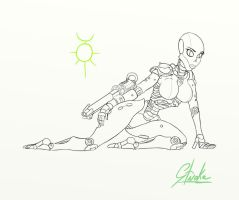 Necron Lady Lineart by Stroke1986