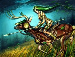 Deer Rider by curlyhair