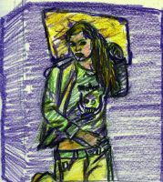 Purple Bed yellow Pillow by Zachary-Ryals