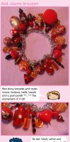 Red charm bracelet by fairy-cakes