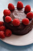 Chocolate and Raspberry Cake by behindthesofa