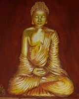 Golden  Buddah Painting by supermegaultrabanana