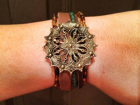 Beaded Leather Cuff by PerryAlexandra