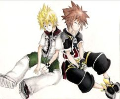 Roxas and Sora color by zen1990