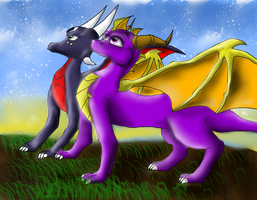 Spyro 'n' Cynder wallpaper by IcelectricSpyro