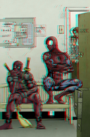 Spider-Man and Deadpool in 3D Anaglyph by xmancyclops