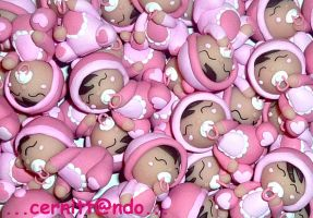 Polymer clay little baby girls by cernittando