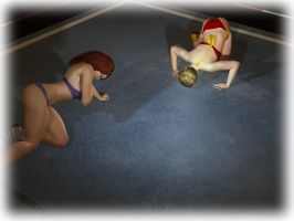 01 Two Exhausted Wrestlers by cpunch