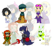 Assorted Chibis - AU Alternate Paths by Dragon-FangX