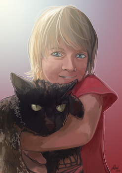 A boy and his cat by FlyingRabbitMonkey