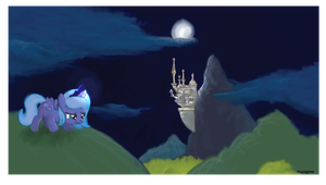Filly Luna raising the moon for the first time by Poofzeedoop