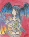 Warrior and the dragons of day and night by eilujenna