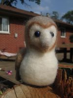Morpheus the Barn Owl - Needle Felt Finger Puppet by shadechristiwolven