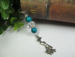 Azurite Chrysocolla Bookmark with PeacockCharm by ExinaArt