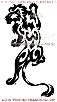 Climbing Lion Tribal Design by WildSpiritWolf