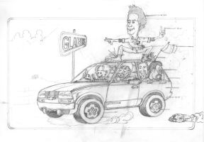 On the Road to Glarus - Pencil - (2002) by SilvioGiacomini