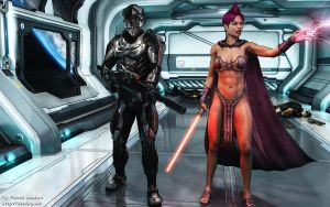 Sith and Mandalorian by Dendory