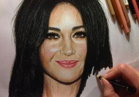 Monica Bellucci - colored pencil drawing by JasminaSusak