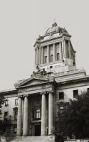 Manitoba Legislative Building Rear Entrance BW by Joe-Lynn-Design