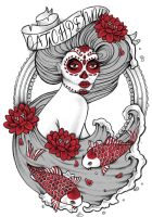 Lady Koi, new tee design for Catchpenny Clothing by kirstynoelledavies