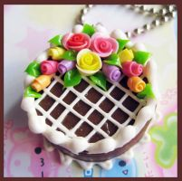 Chocolate Rose Cake Necklace by cherryboop