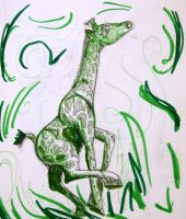 Green Giraffe by swiftheartstudios