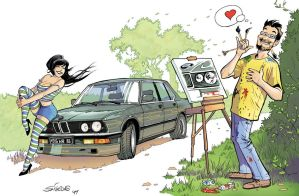 The pin-up, the self portrait and the old bimmer by serge-fiedos