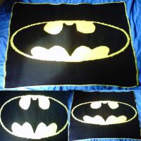 Batman Blanket Finished by crochetamommy