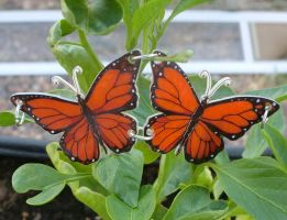 Two Hand Drawn Monarch Butterfly Charms by CaterpillarArts