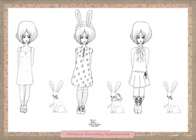 Rabbit Paper Doll - Clothed by beyourpet